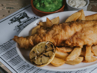 Fish and Chips at The Pig and Whistle Pub, Grimsby