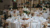 Laura and Adam's Healing Manor Wedding Barn set up