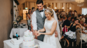 Laura and Adam's Healing Manor Wedding Barn set up cake cutting