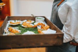 Miniature Fish and Chip Canapés Healing Manor Wedding Venue
