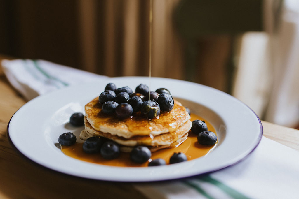 Healing Manor Hotel Take Away Menu - Brunch - Blueberries Pancakes